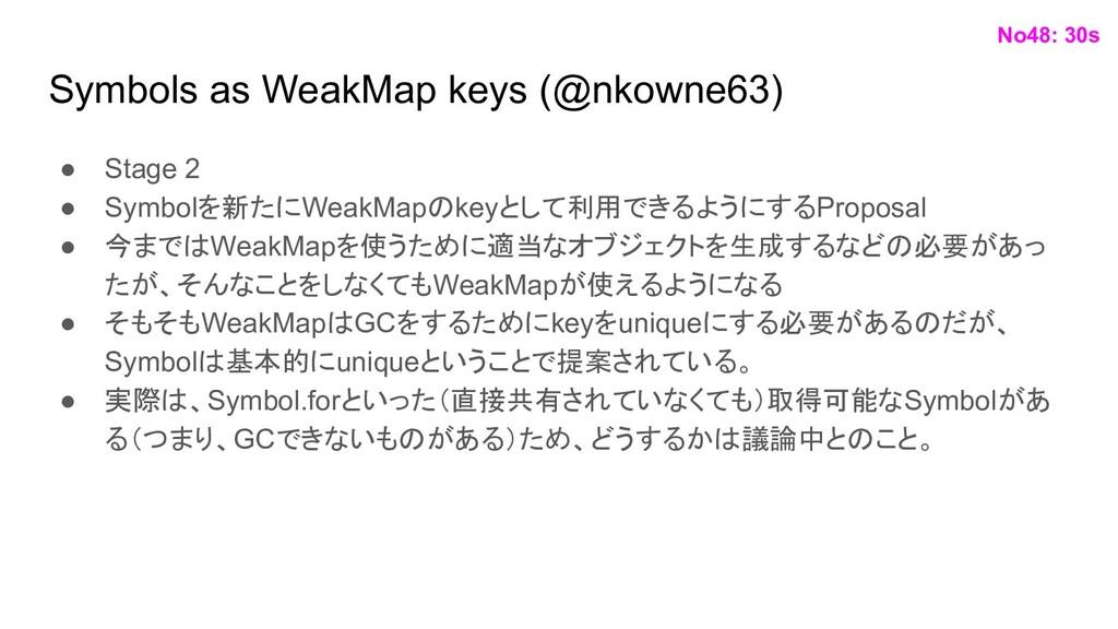 Symbols as WeakMap keys (@nkowne63) ● Stage 2 ●...