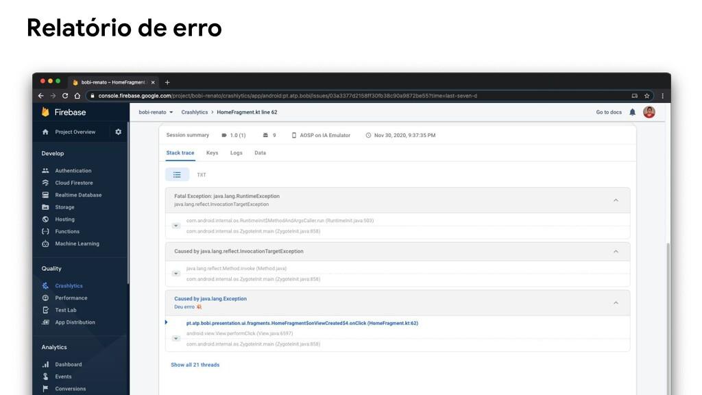 Relatório de erro