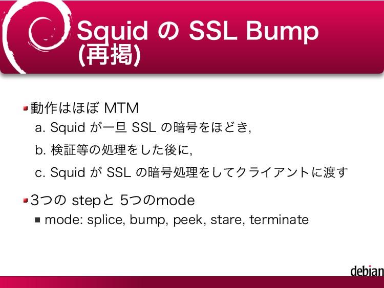 Squid の SSL Bump (再掲) 動作はほぼ MTM Squid が一旦 SSL の...