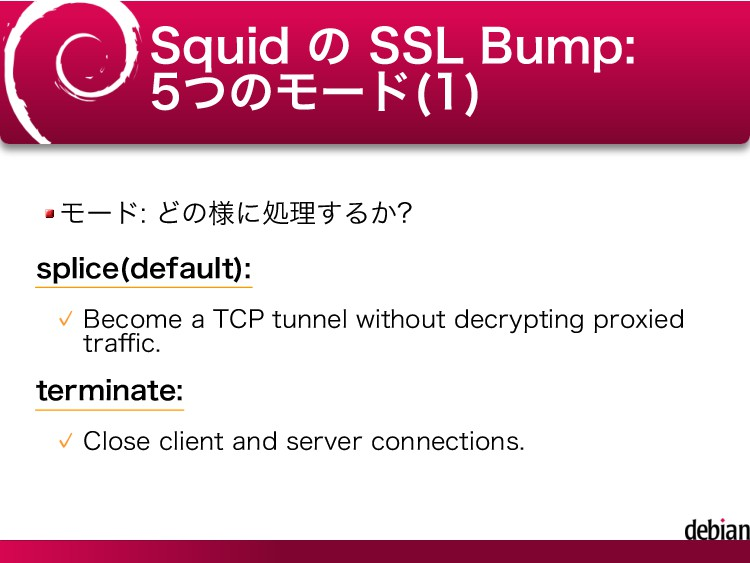 Squid の SSL Bump: 5つのモード(1) モード: どの様に処理するか? spl...