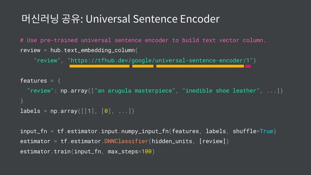 # Use pre-trained universal sentence encoder to...