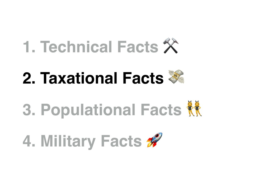 1. Technical Facts ⚒ 2. Taxational Facts  3. Po...