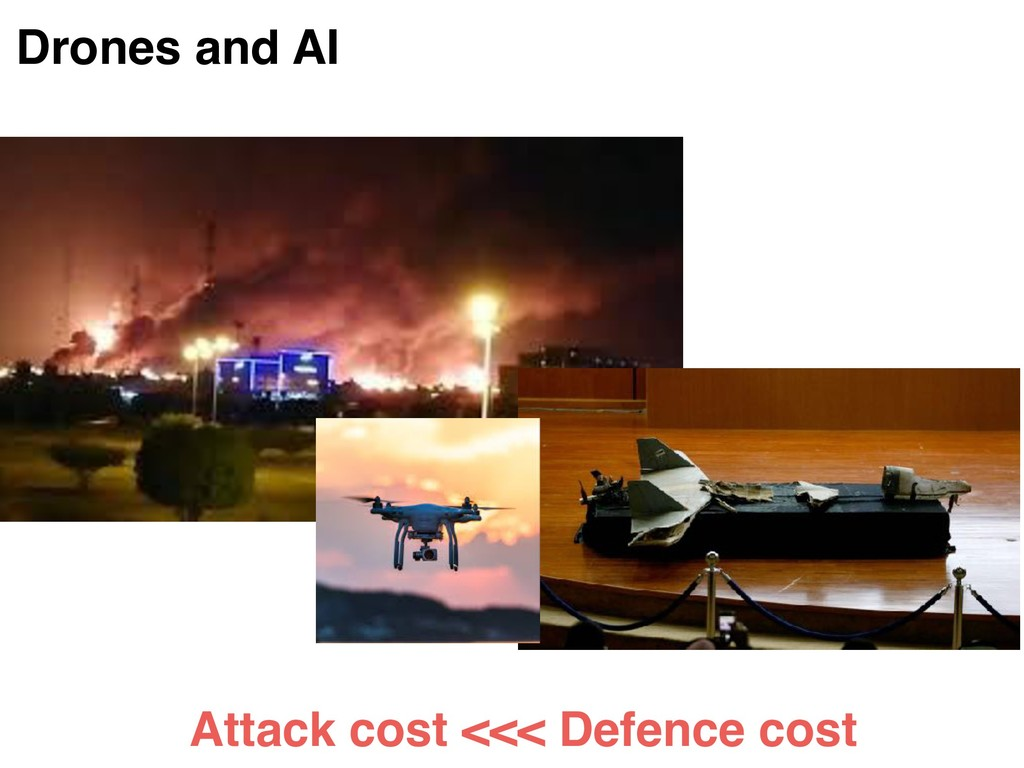 Drones and AI Attack cost <<< Defence cost