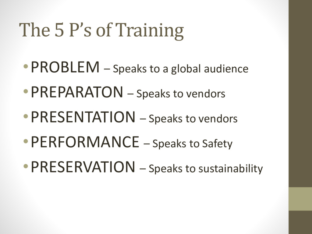 The 5 P's of Training •PROBLEM – Speaks to a gl...