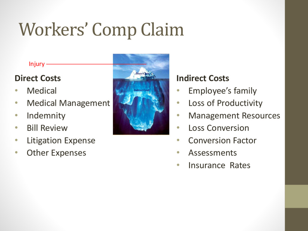 Workers' Comp Claim Direct Costs • Medical • Me...