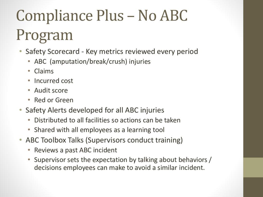 Compliance Plus – No ABC Program • Safety Score...