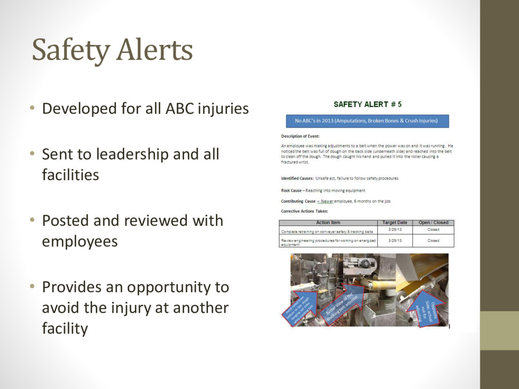 Safety Alerts • Developed for all ABC injuries ...