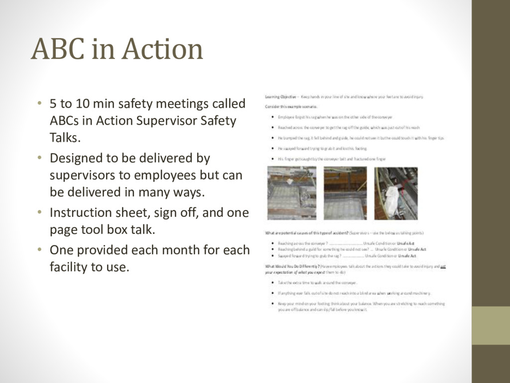 ABC in Action • 5 to 10 min safety meetings cal...