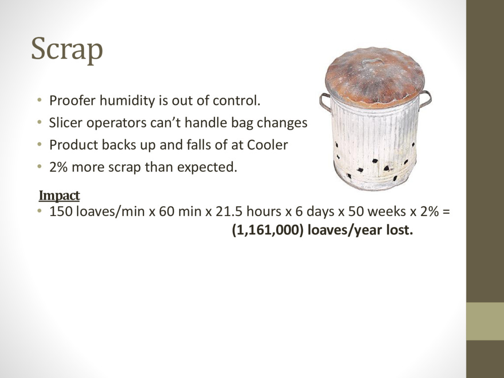 Scrap • Proofer humidity is out of control. • S...