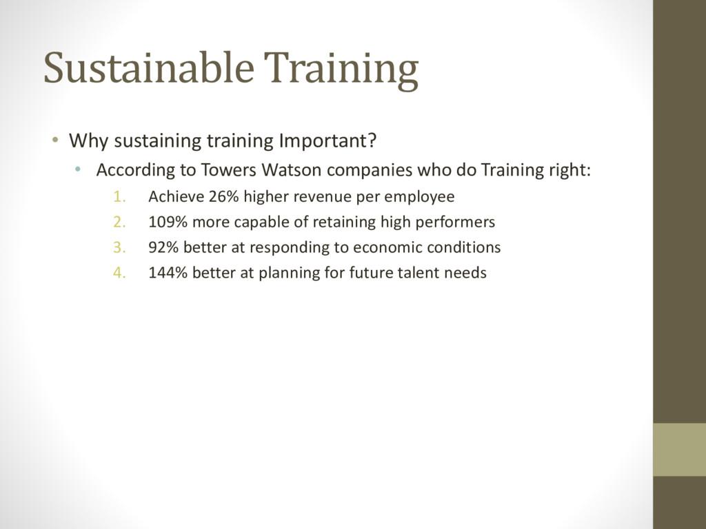 Sustainable Training • Why sustaining training ...