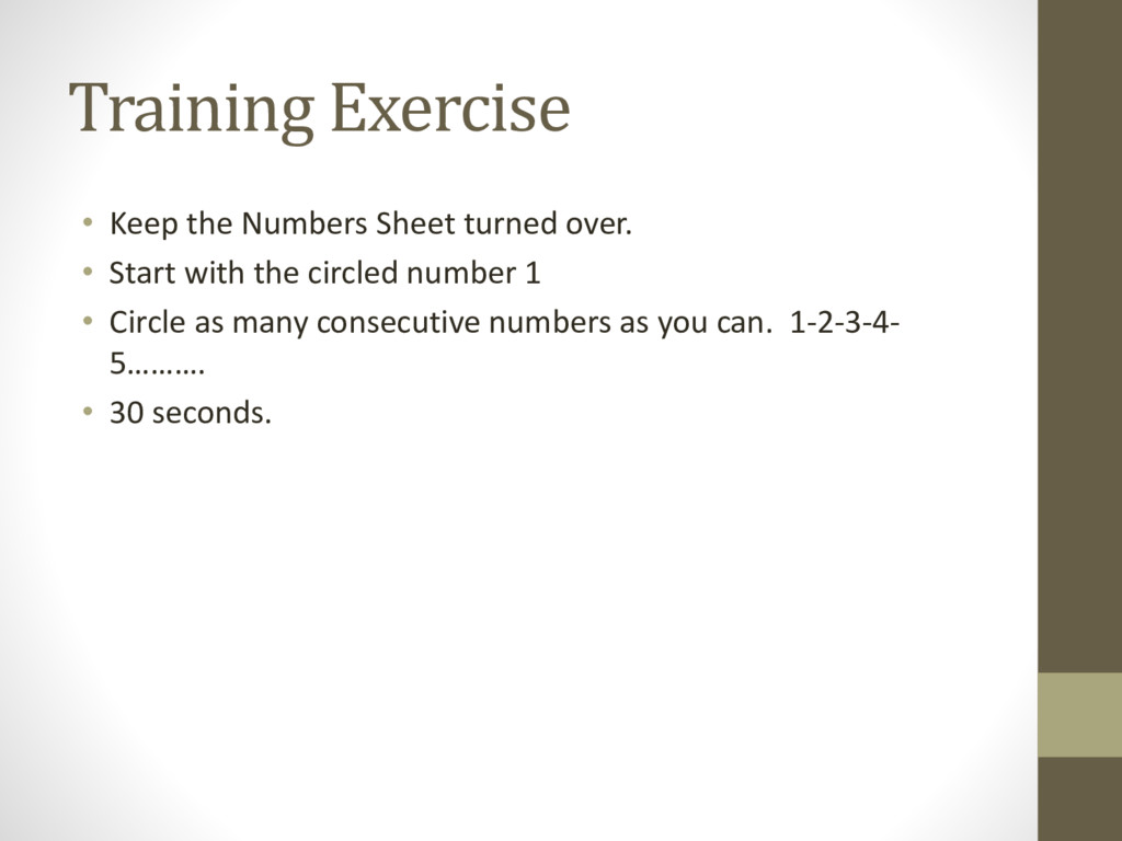 Training Exercise • Keep the Numbers Sheet turn...