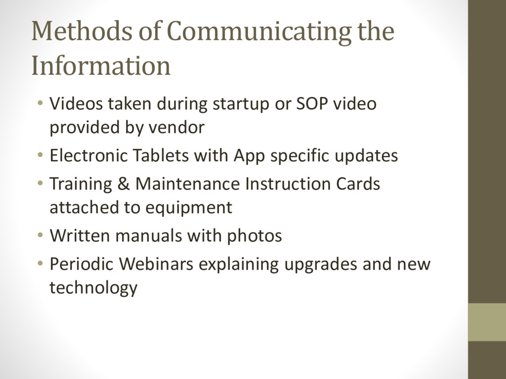 Methods of Communicating the Information • Vide...