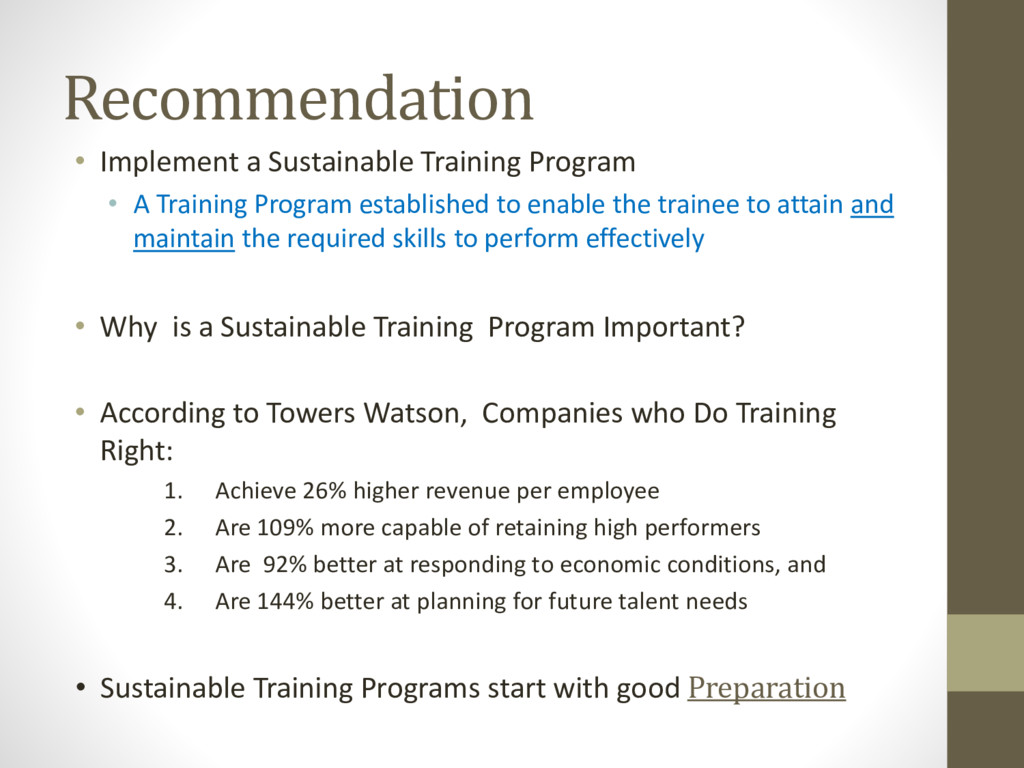 Recommendation • Implement a Sustainable Traini...