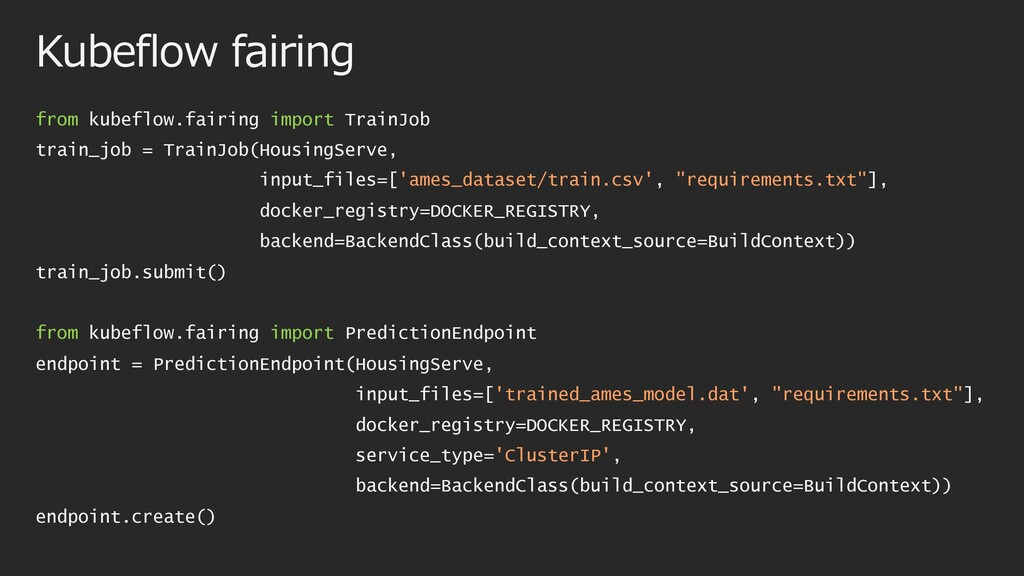 Kubeflow fairing from kubeflow.fairing import T...