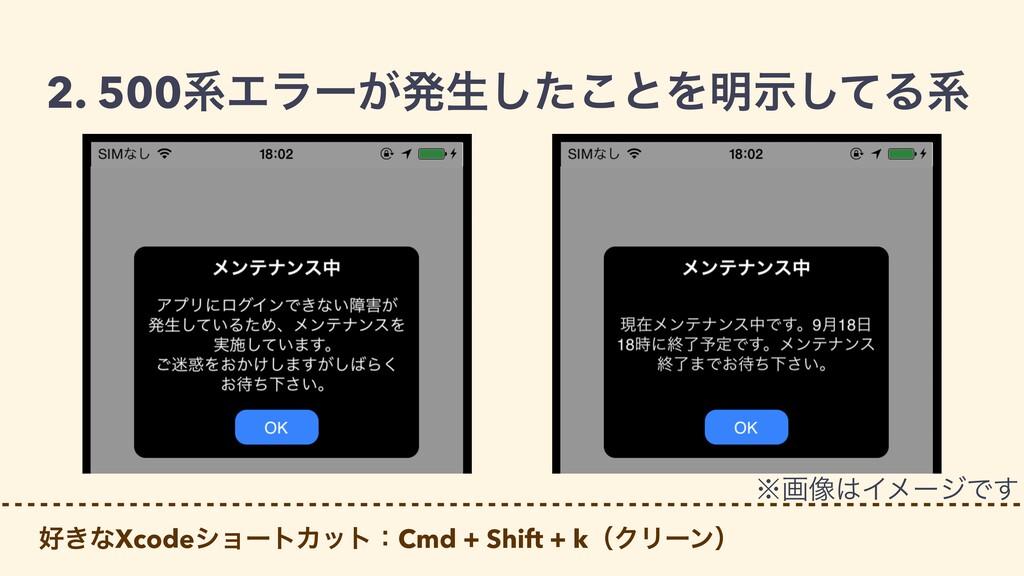 2. 500ܥΤϥʔ͕ൃੜͨ͜͠ͱΛ໌ࣔͯ͠Δܥ ͖ͳXcodeγϣʔτΧοτɿCmd + ...