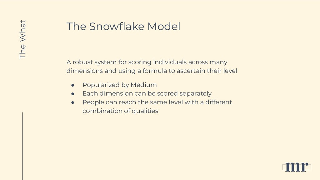 The Snowflake Model A robust system for scoring ...