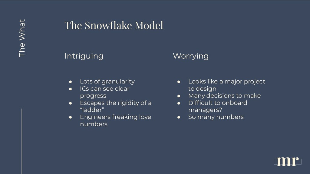 The Snowflake Model Intriguing ● Lots of granula...