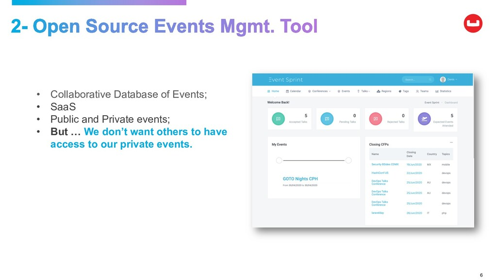 6 • Collaborative Database of Events; • SaaS • ...