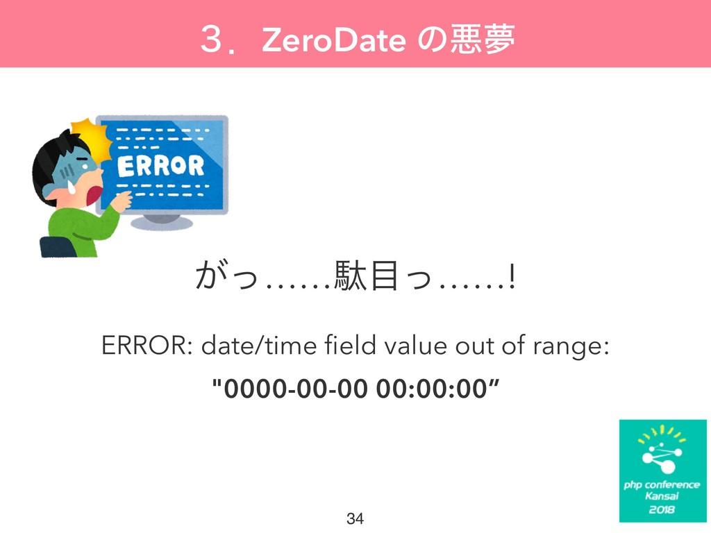 ̏ɽZeroDate ͷѱເ ͕ͬ……ବͬ……! ERROR: date/time field...
