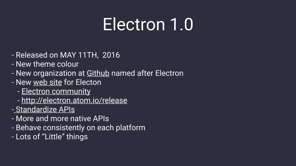 Electron 1.0 - Released on MAY 11TH, 2016 - New...