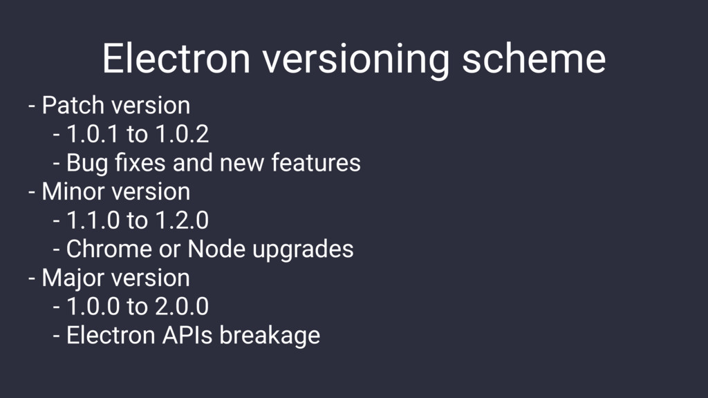 Electron versioning scheme - Patch version - 1....