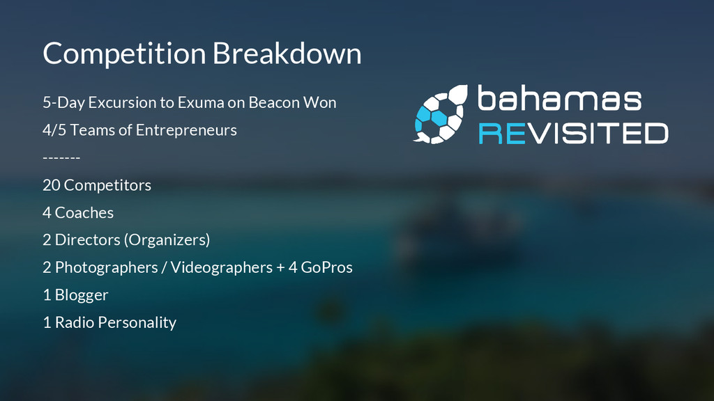 5-Day Excursion to Exuma on Beacon Won 4/5 Team...