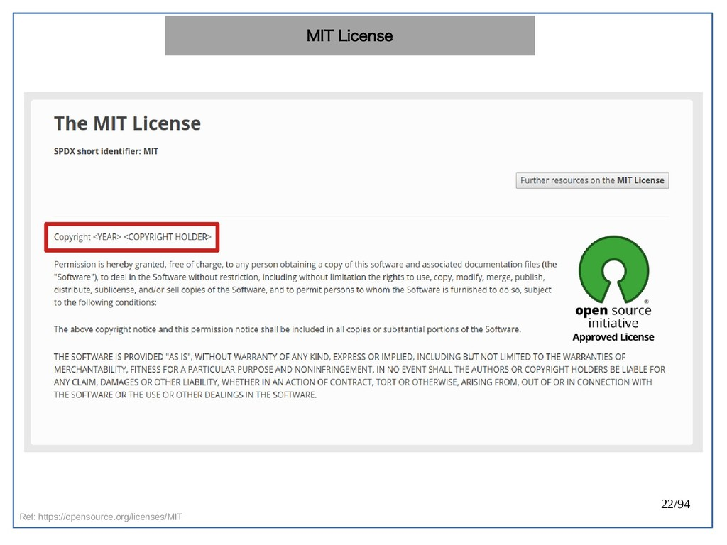 22/94 Ref: https://opensource.org/licenses/MIT ...