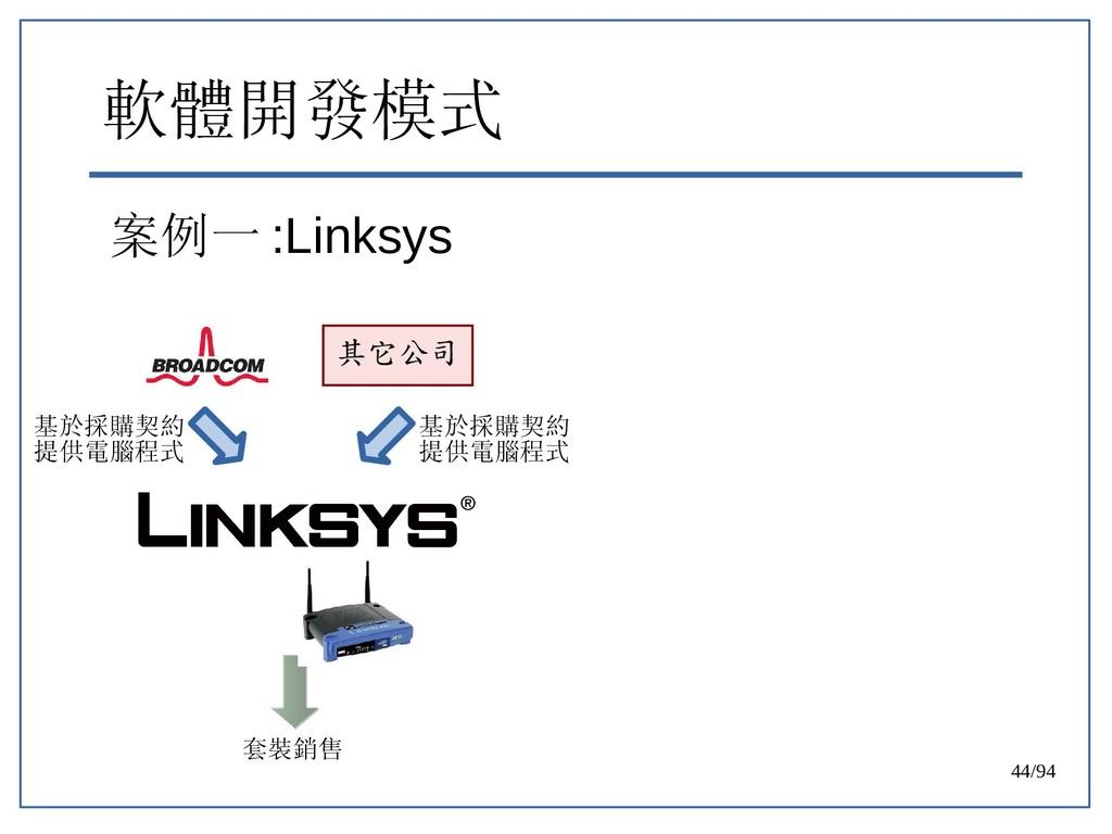 44/94 軟體開發模式 案例一 :Linksys 其它公司 基於採購契約 提供電腦程式 基於...