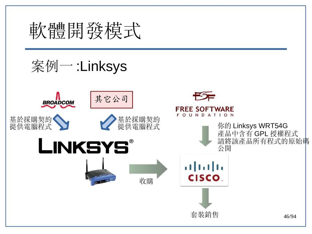 46/94 軟體開發模式 案例一 :Linksys 其它公司 基於採購契約 提供電腦程式 基於...