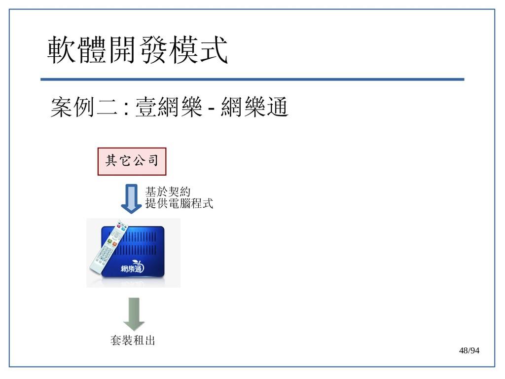 48/94 軟體開發模式 案例二 : 壹網樂 - 網樂通 其它公司 基於契約 提供電腦程式 套...