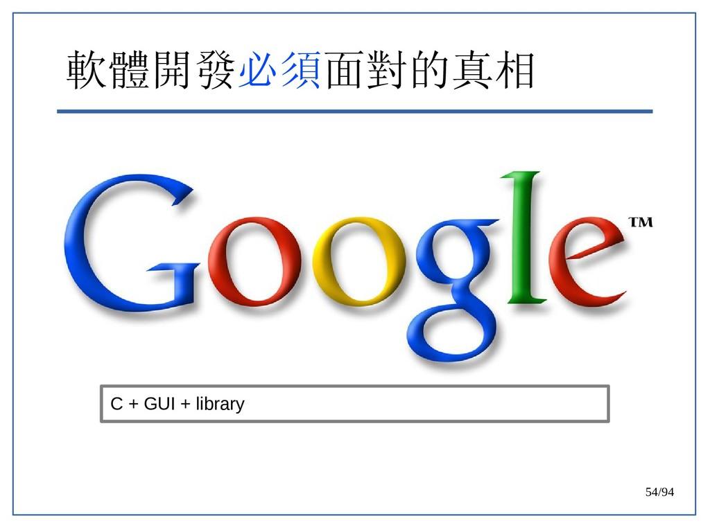 54/94 軟體開發必須面對的真相 C + GUI + library