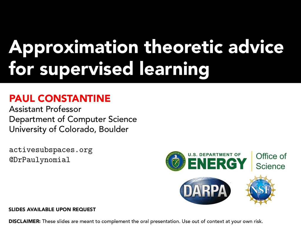 Approximation theoretic advice for supervised l...