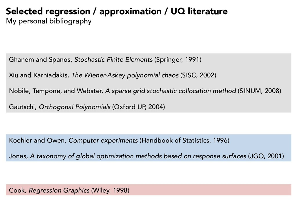 Selected regression / approximation / UQ litera...