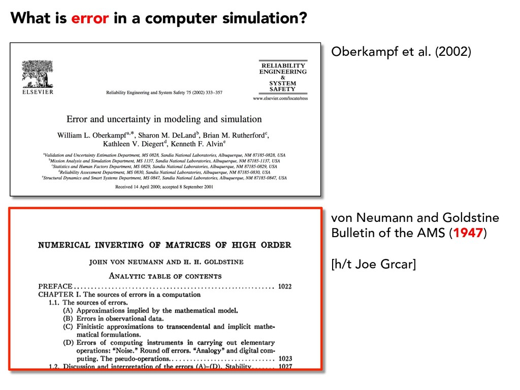 What is error in a computer simulation? Oberkam...