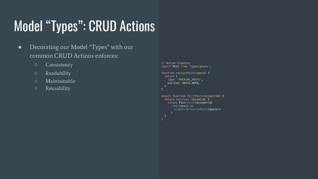 """Model """"Types"""": CRUD Actions ● Decorating our Mo..."""