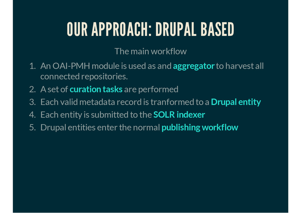OUR APPROACH: DRUPAL BASED The main workflow 1....