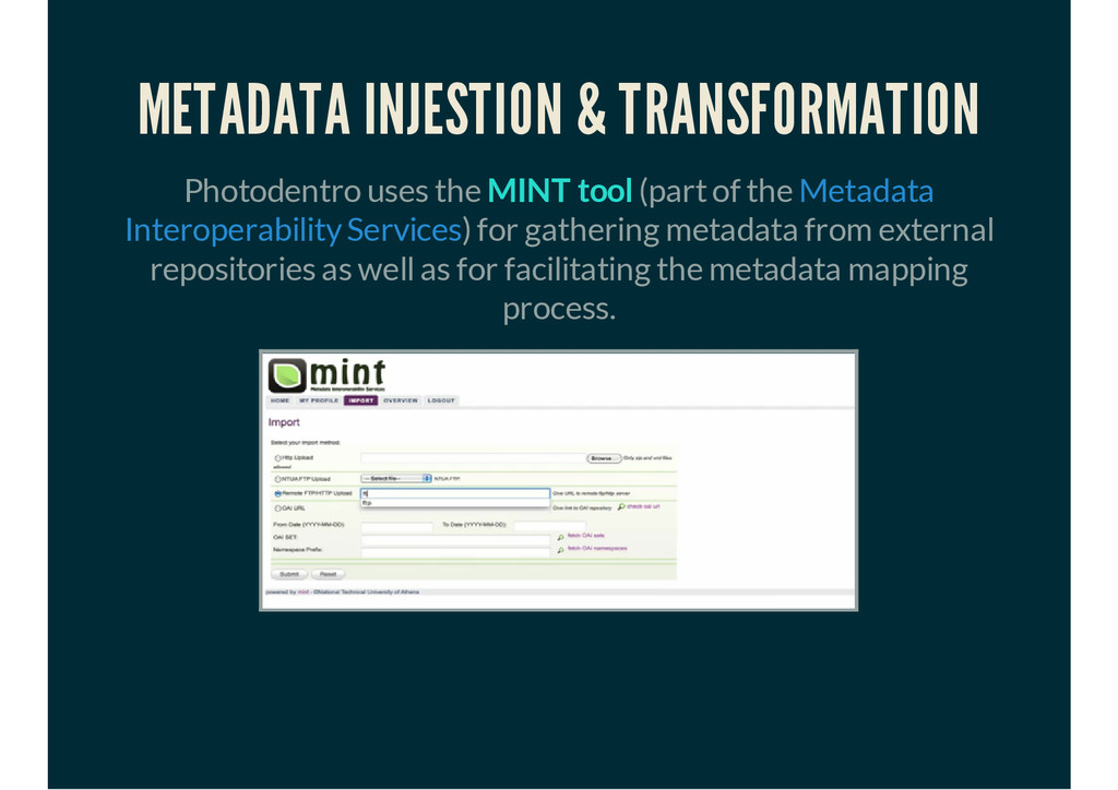 METADATA INJESTION & TRANSFORMATION Photodentro...