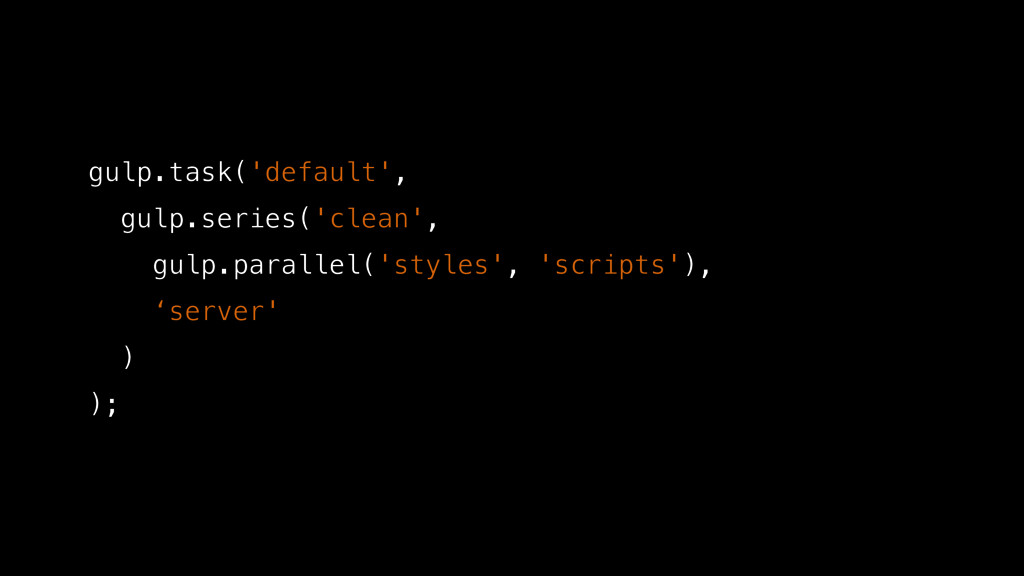 gulp.task('default', gulp.series('clean', gulp....