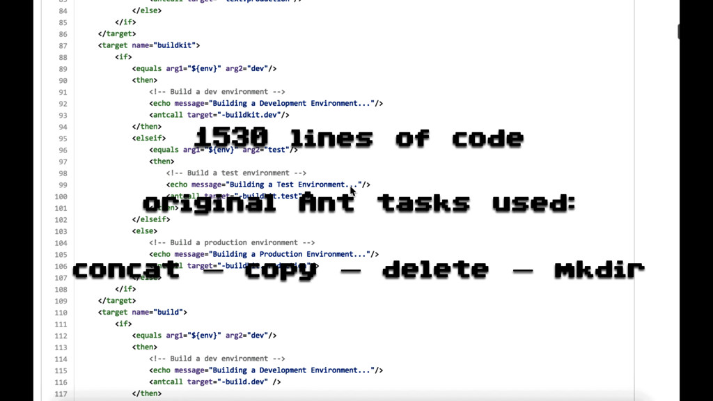 1530 lines of code original Ant tasks used: con...