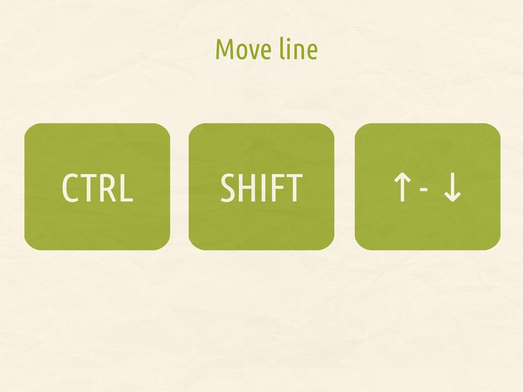 Move line SHIFT CTRL ↑- ↓ ↑- ↓