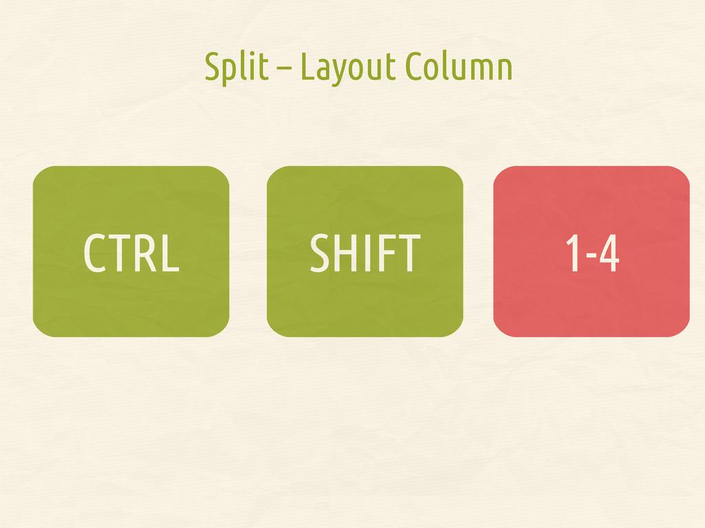 Split – Layout Column SHIFT CTRL 1-4 1-4