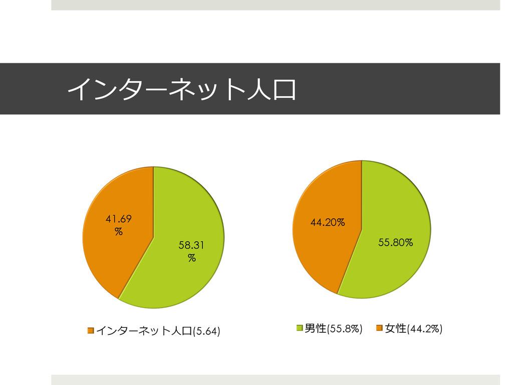 インターネット⼈人⼝口 58.31 % 41.69 % インターネット⼈人⼝口(5.64) 5...