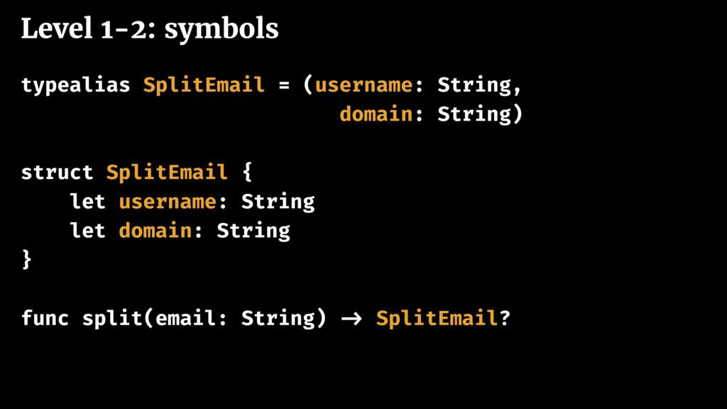 Level 1-2: symbols typealias SplitEmail = (user...