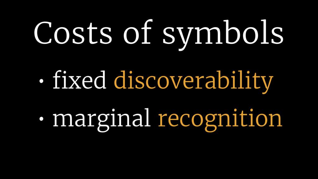 Costs of symbols • fixed discoverability • margi...