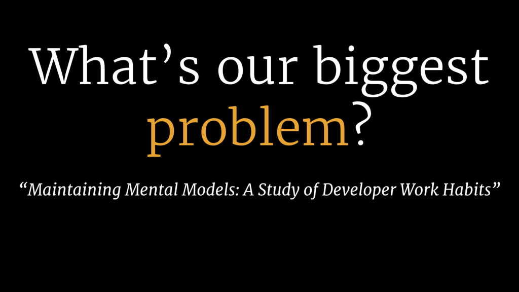 """What's our biggest problem? """"Maintaining Mental..."""