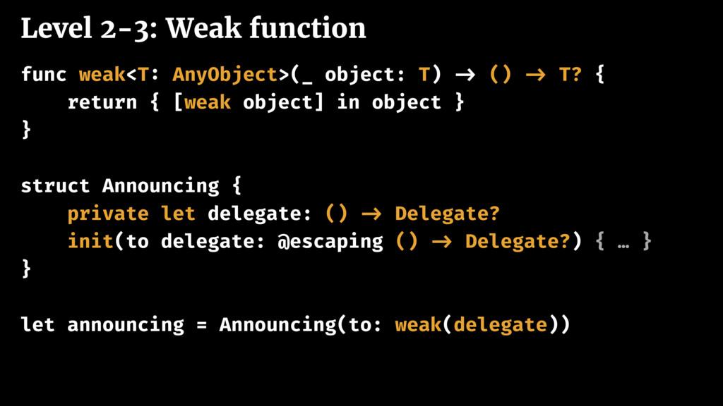 Level 2-3: Weak function func weak<T: AnyObject...