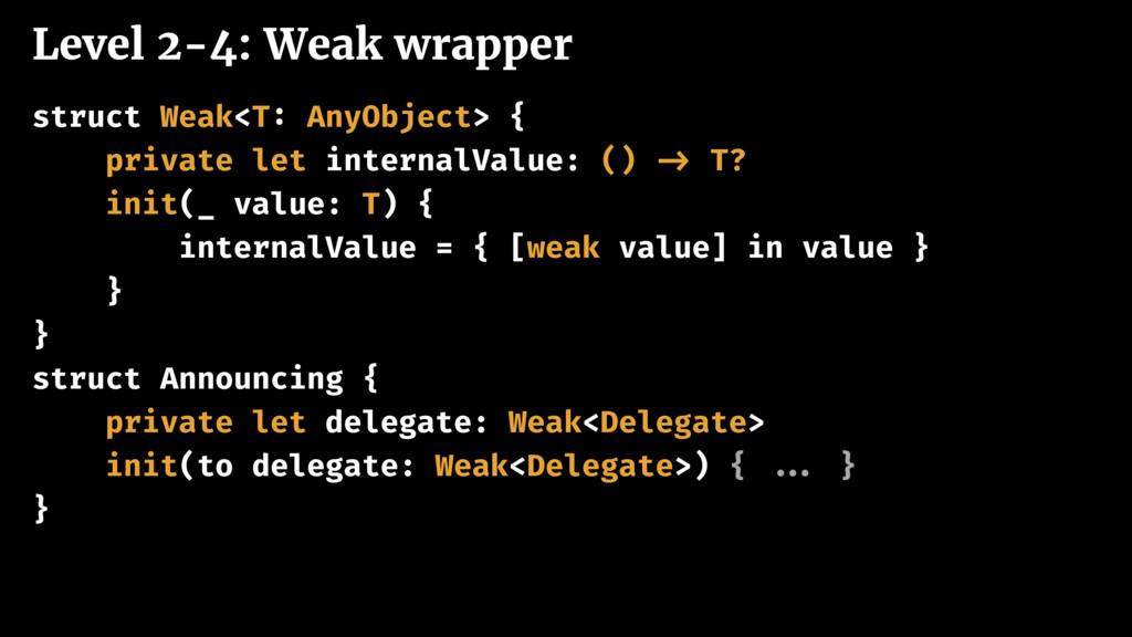 Level 2-4: Weak wrapper struct Weak<T: AnyObjec...