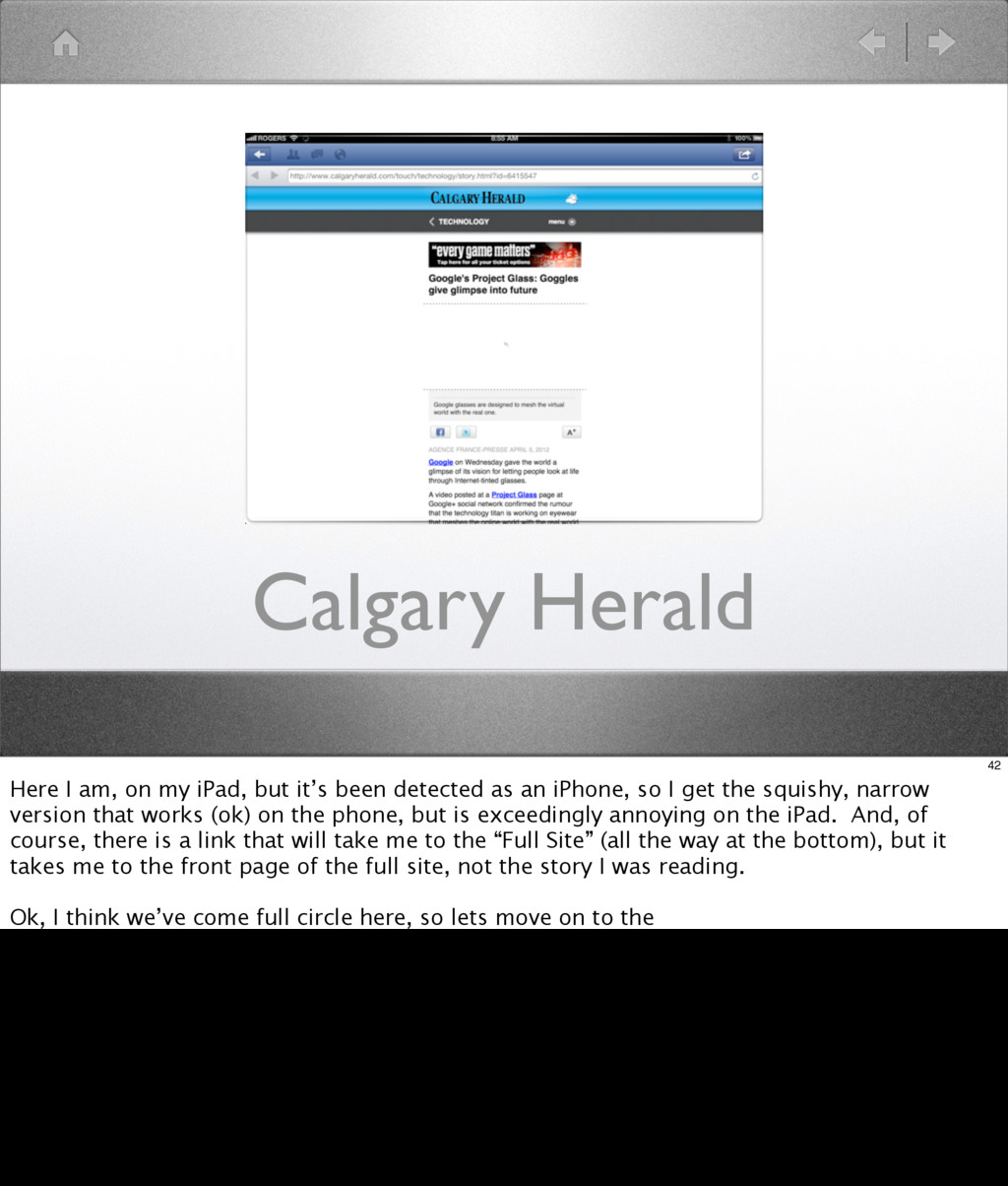 Calgary Herald 42 Here I am, on my iPad, but it...