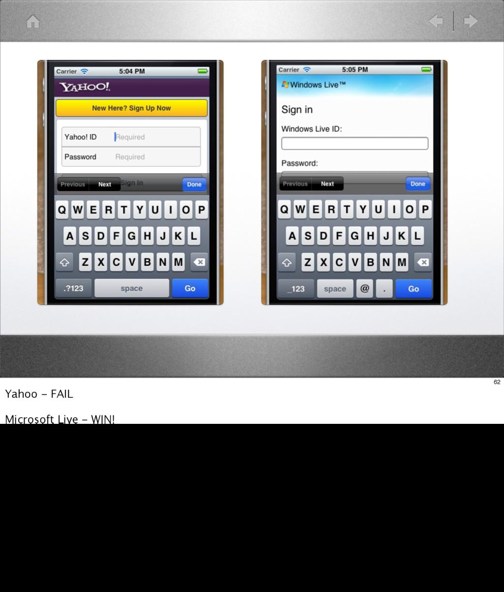 62 Yahoo - FAIL Microsoft Live - WIN!