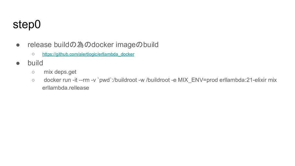 step0 ● release buildの為のdocker imageのbuild ○ ht...